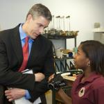 Secretary Duncan visited classes and talked with students