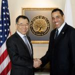 Deputy Secretary Tony Miller welcomes Deputy Minister Shinichi Yamanaka to the Department
