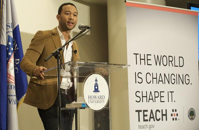 John Legend speaking at TEACH Town Hall