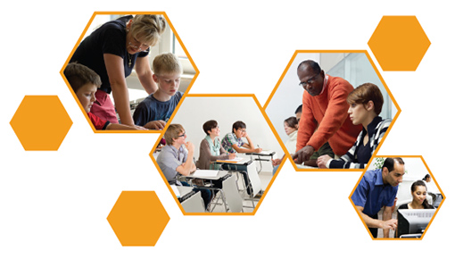 Collage of photos of teachers working with students